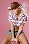 Beautiful rodeo girl — Stock Photo