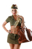 Beautiful woman in military clothes — Stock Photo