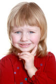 Happy little girl make funny face — Stockfoto