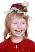 šťastná holčička v červené čepici — Stock fotografie