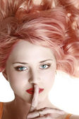 Beautiful woman face with red hair — Stock Photo