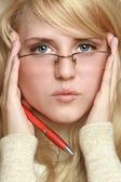 Young woman wearing glasses — Stock Photo