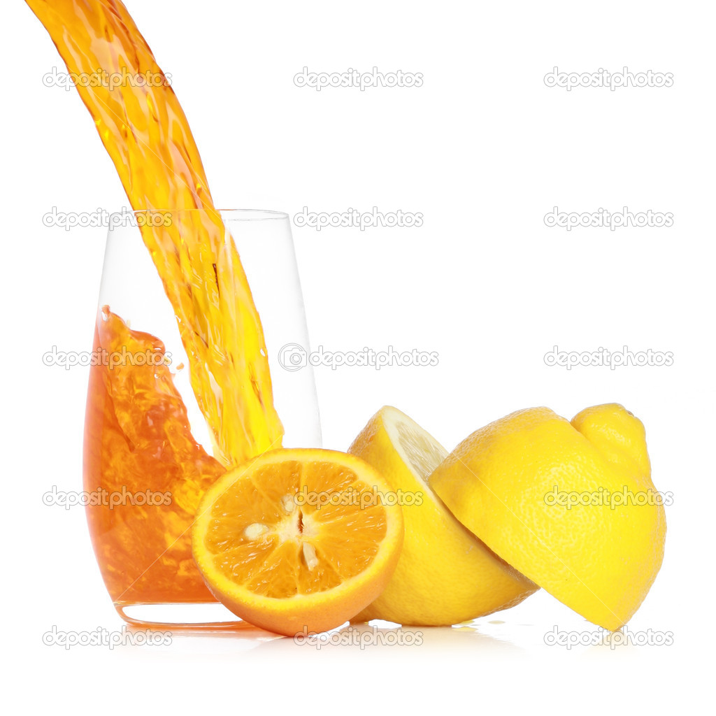 Pouring fresh orange juice into a glass. Isolated on white background — Stock Photo #3215057