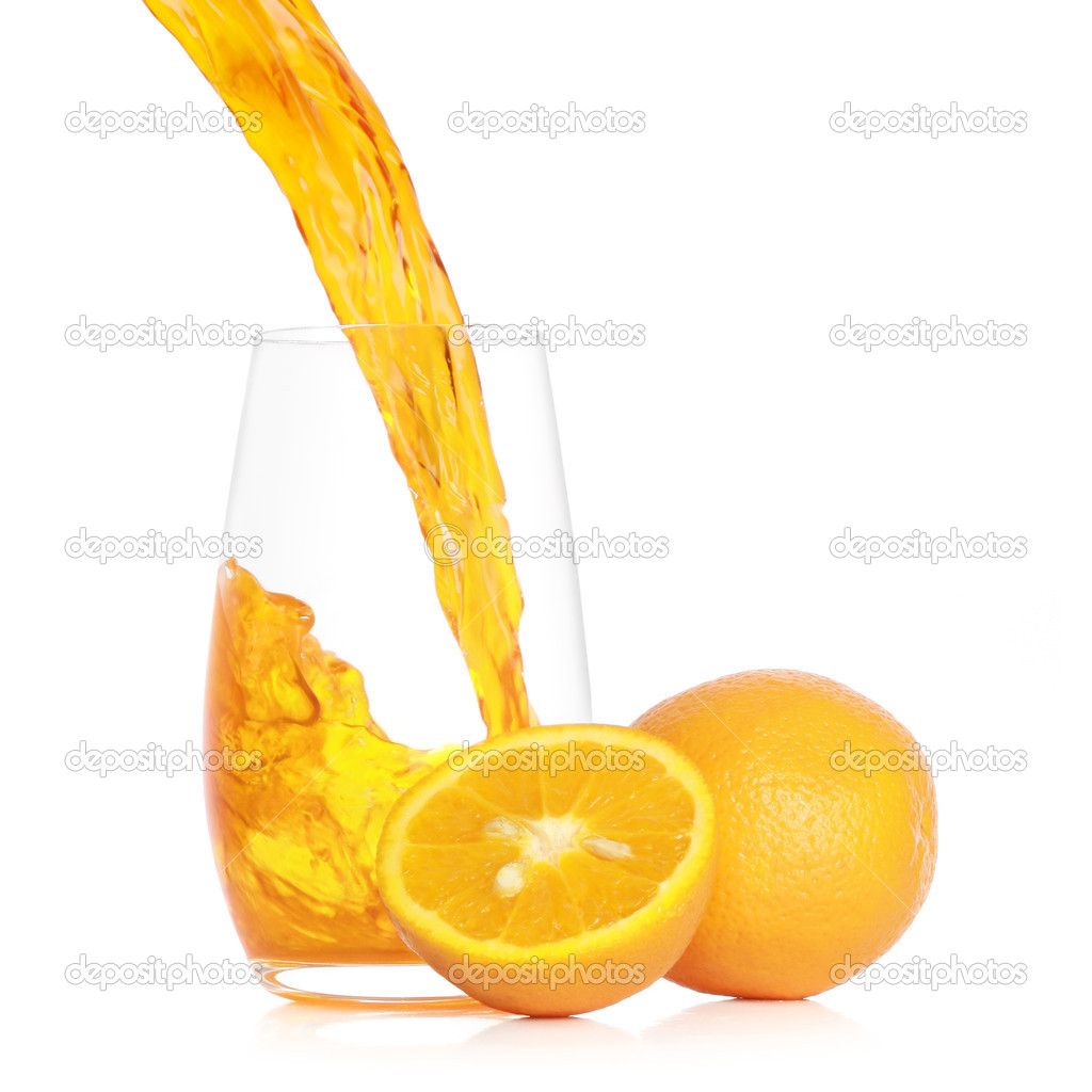 Pouring fresh orange juice into a glass. Isolated on white background — Stock Photo #3215062
