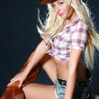 Nice babe in a cowboy's hat - Stock Photo