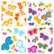 Stock Vector: Butterflies patterns
