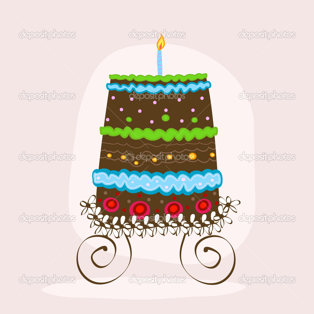 Doodle sweet cake with candle — Stock Vector #2704908