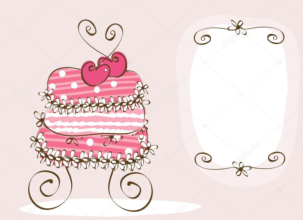 Doodle sweet wedding cake  — Stock Vector #2704912