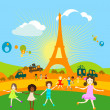 Paris and kids playing — Stock Photo