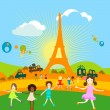 Paris and kids playing — Stock Photo #2717749