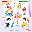 Happy kids at school — Imagen vectorial