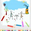 Childlike drawing - Stock Vector