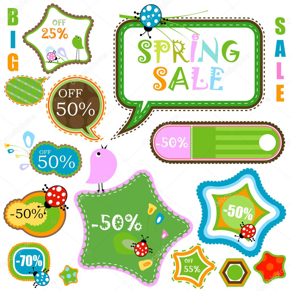 Spring sale, various shapes and colors — Stock Vector #2783623