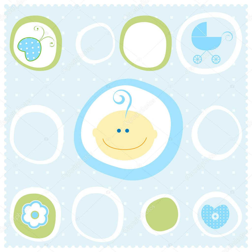 Cute frame with baby boy portrait — Stock Vector #2783671