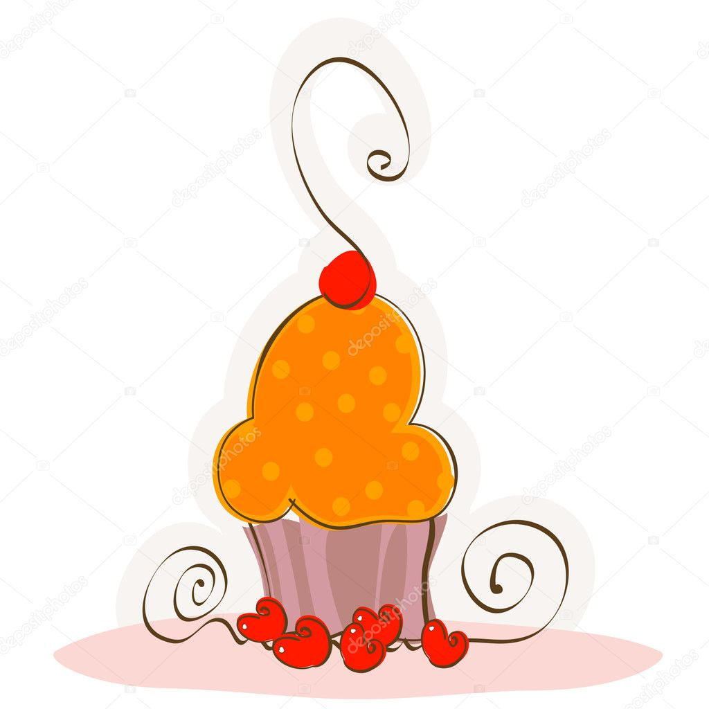 Doodle sweet cake with cherry on top — Stock Vector #2783717