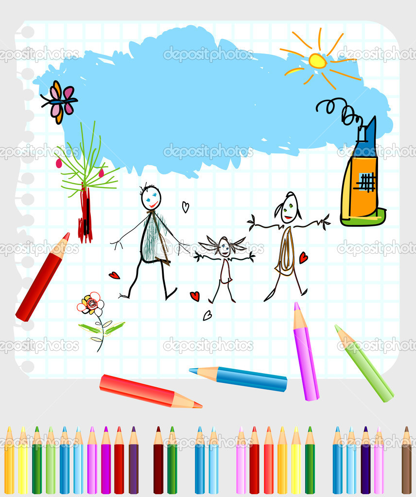 Childlike drawing on a note book paper  Stock Vector #2783748