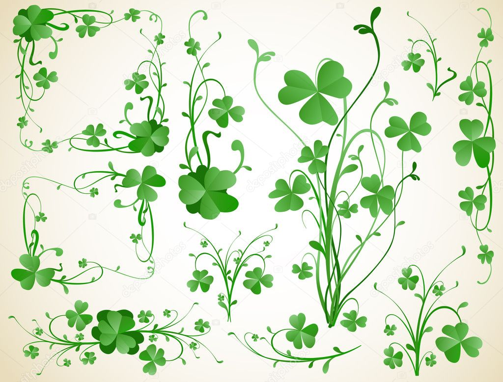 Three leaves clover design elements — Stock Vector #2783880