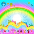 Kids and rainbow — 图库照片
