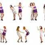 Cheerful girls. Collage — Stock Photo