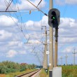 Railroad and semaphore with green signal - Stock Photo