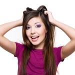 mulher com expressão facial positiva — Fotografia Stock  #2858829