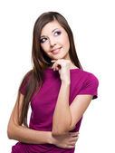 Smiling thinking woman looking up — Stock Photo