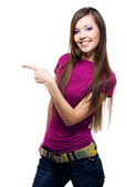 Smiling woman points a hand — Stock Photo