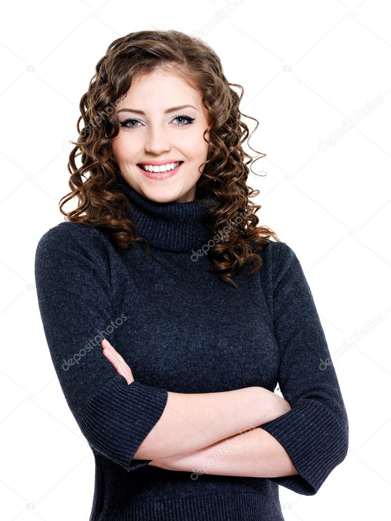 Young happy beautiful woman in dark blue sweater  Stock Photo #2911982