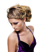 Beautiful curly and pigtail hairstyle — Stock Photo