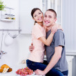 Stock Photo: Happy couple in the kitchen