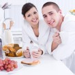 Smiling lovers in the kitchen — Stock Photo #3159531