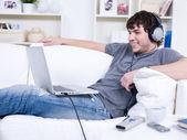 Man with headphone — Stock Photo