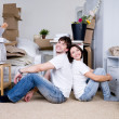 Happy couple in the new home — Stock Photo