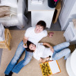Happy couple celebrating new home — Stock Photo #3468519
