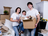 Family moving to the new flat — Stock Photo
