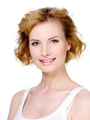 Smiling woman with blond short hair — Stock Photo