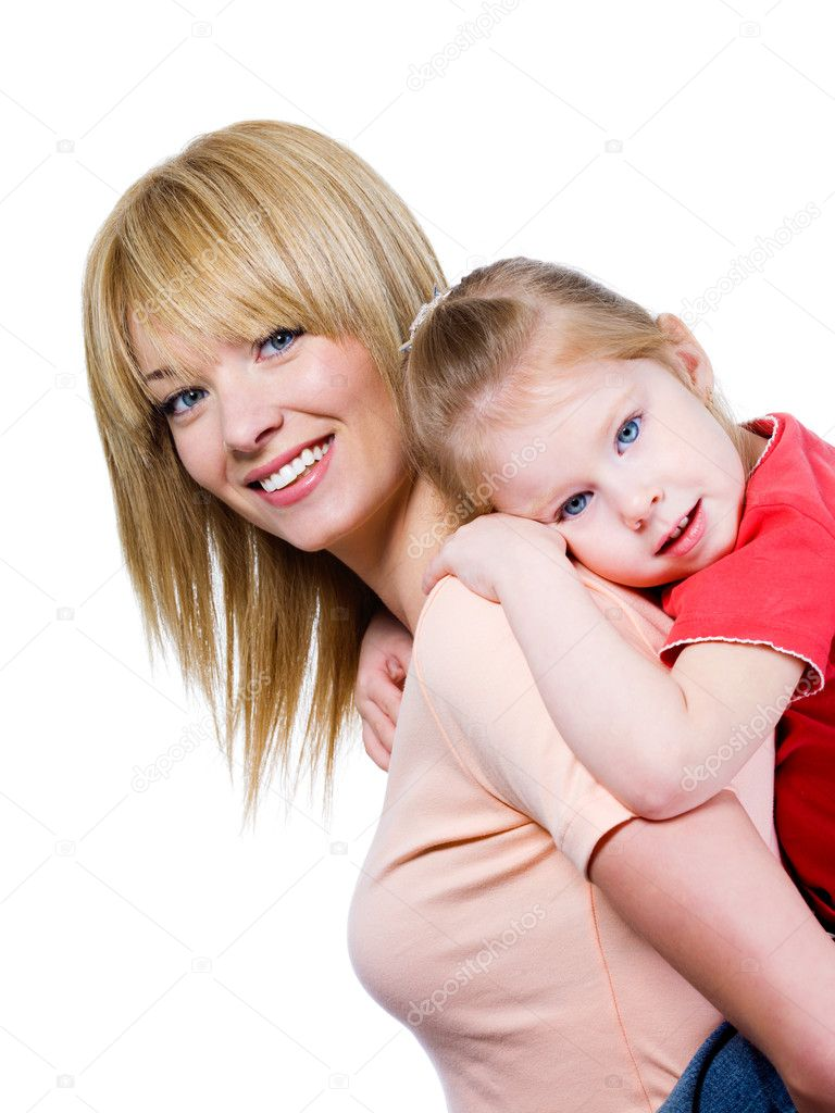 Portrait of happy smiling beautiful young mother with little pretty daughter - isolated — 图库照片 #3469126