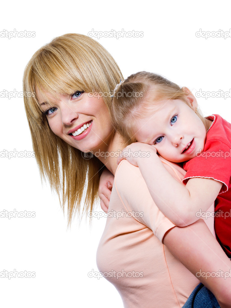 Portrait of happy smiling beautiful young mother with little pretty daughter - isolated — Foto Stock #3469126