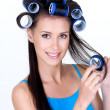 Royalty-Free Stock Photo: Happy woman in hairrollers
