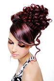 Creative multicolored hairstyle — Stock Photo