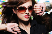 Woman with fashion sunglasses — Foto de Stock