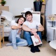 Happy couple in new house — Stock Photo