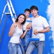 Stock Photo: Happy family doing renovation