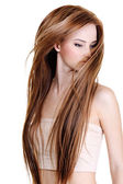 Woman with beauty long straight hairs — Stock Photo