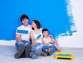 Friendly family doing renovation — Stock Photo