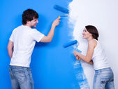 Happy brushing the wall — Stock Photo