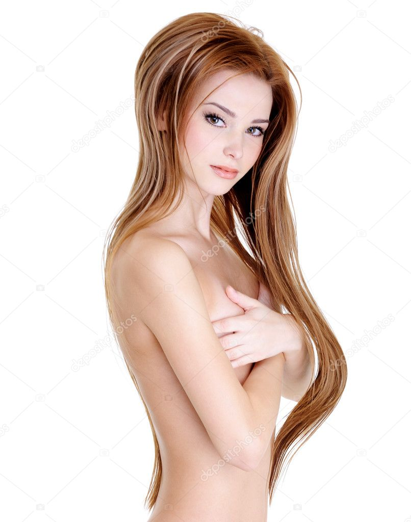 Attractive young girl with beautiful long straight hairs and naked body - over white background  Stock Photo #3730811