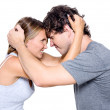 Portrait of the angry young couple — Stock Photo