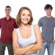 Stock Photo: The girl and two young men