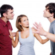 Men fight for the woman — Stock Photo